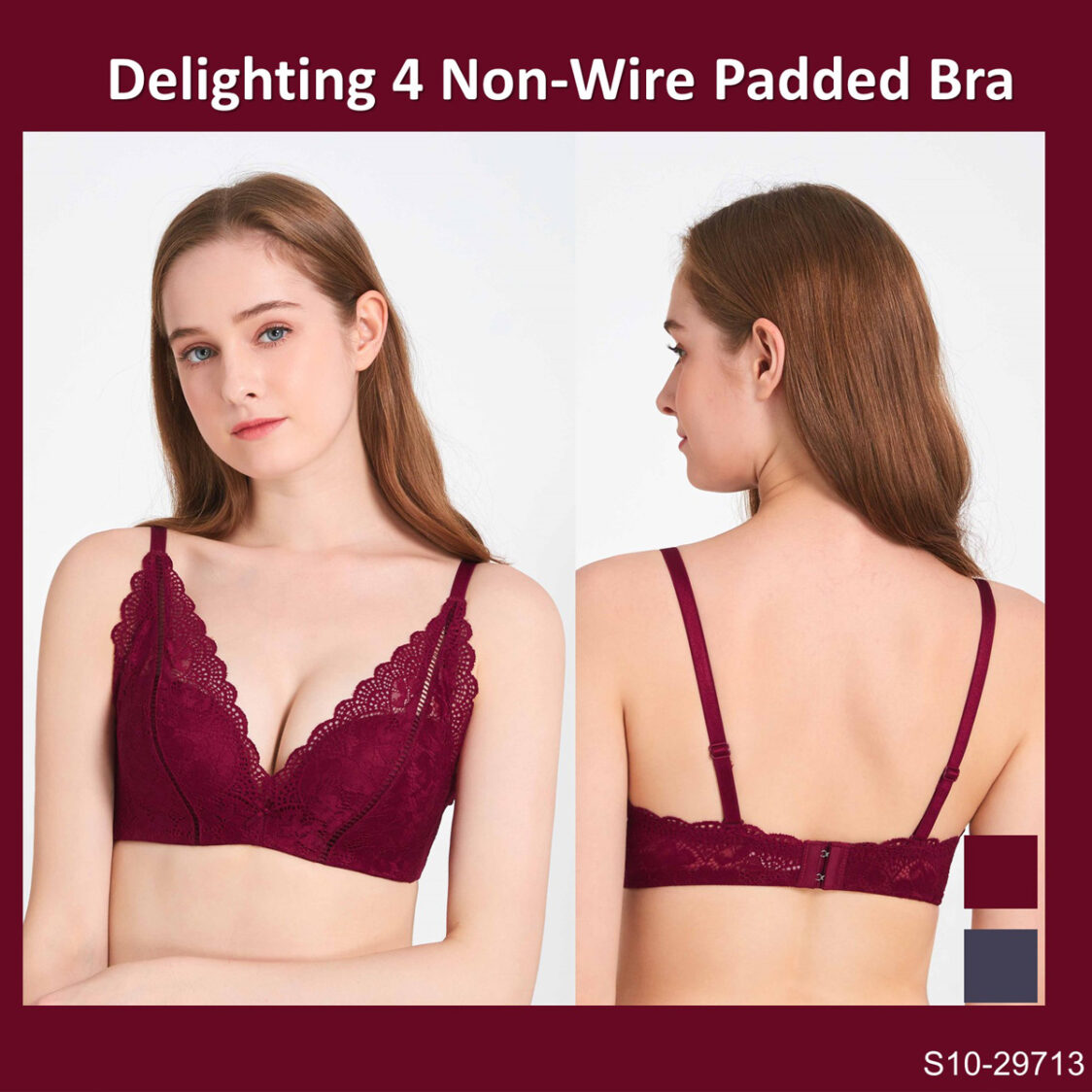 Delighting Series 4 Non-wire Padded Bra S10-29713RED Red