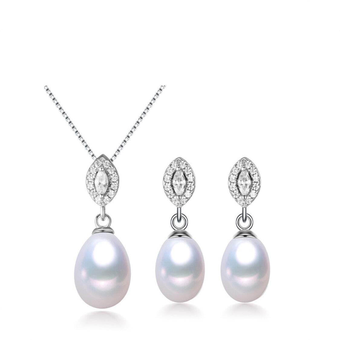 Fresh Water Pearl Pendant  Earrings Set in 925 Sterling Silver - EJset4
