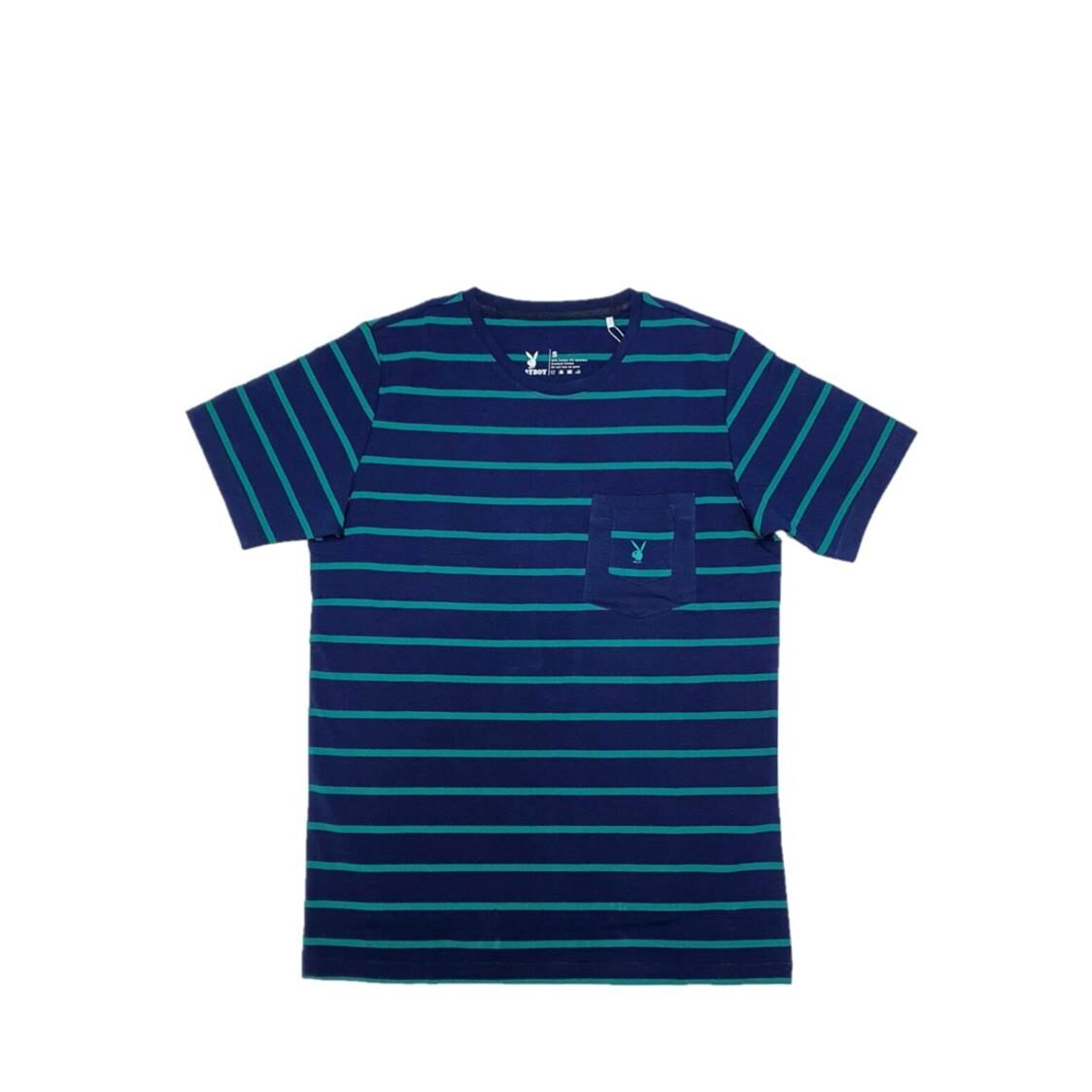 Playboy Round Neck Cotton Spandex Striped Tees with Pocket Blue