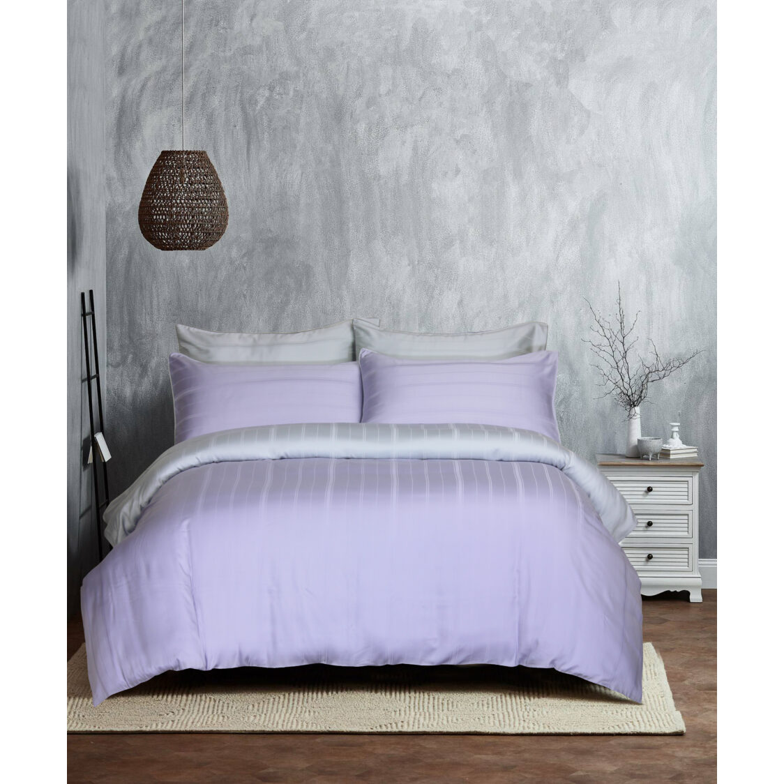 Eurotex Mod Living 1000TC 100 Tencel Dobby Bed Set- Kane LilacSilver