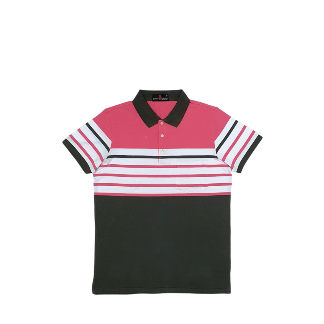 John Langford Stretchable Striped Polo T-Shirt with Pocket Pink