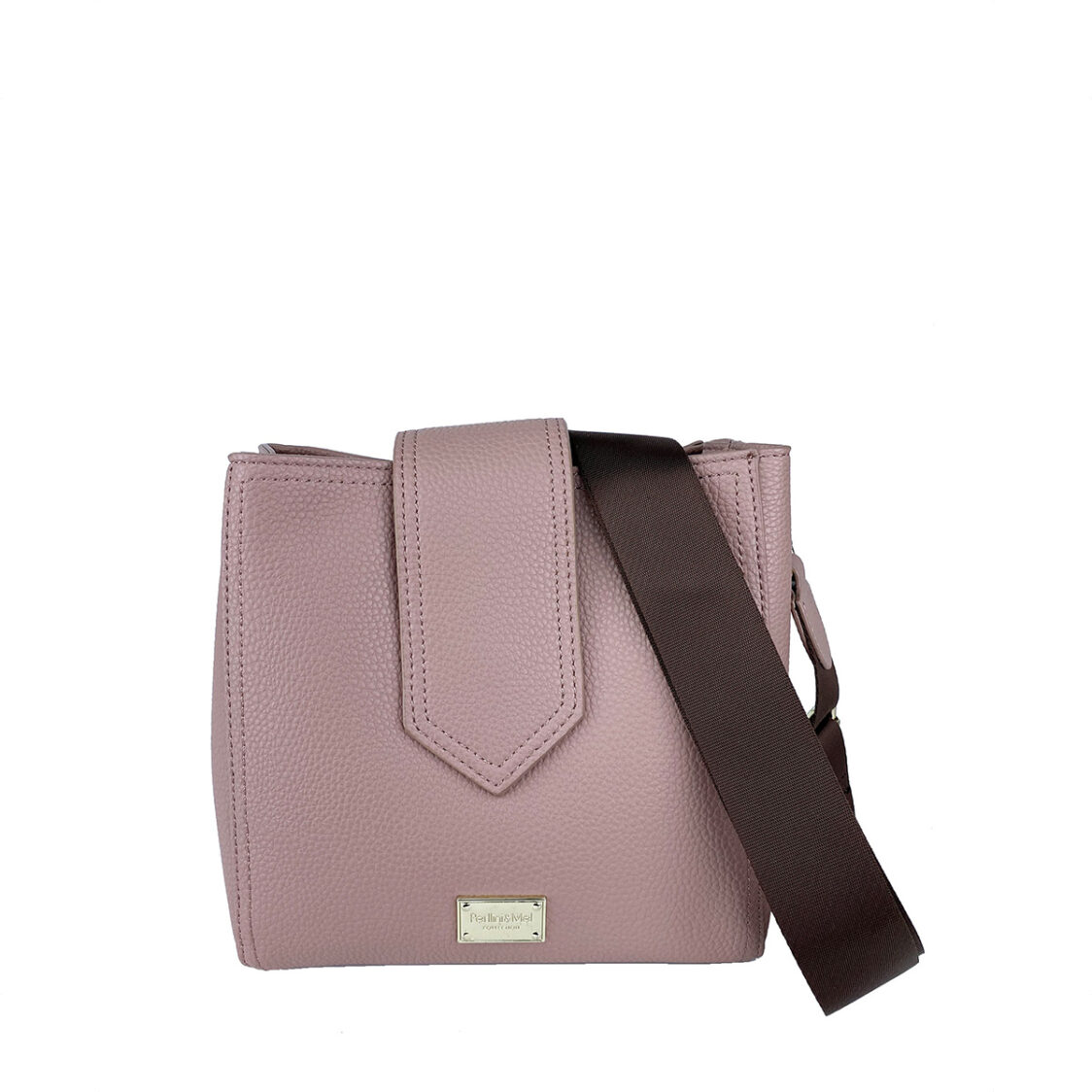 Perllini  Mel Pebbled Faux Leather Square Sling Bag With Webbing Strap Muted Pink