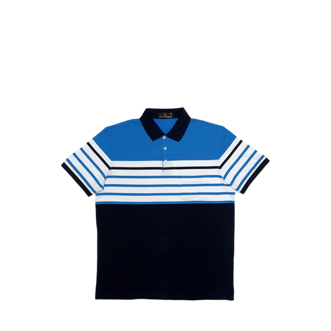 John Langford Stretchable Striped Polo T-Shirt with Pocket Blue