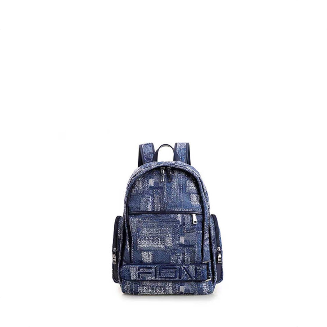 Fion Oil Painting Woven with Leather Backpack - FAAFAKW001DBLDBLZZ