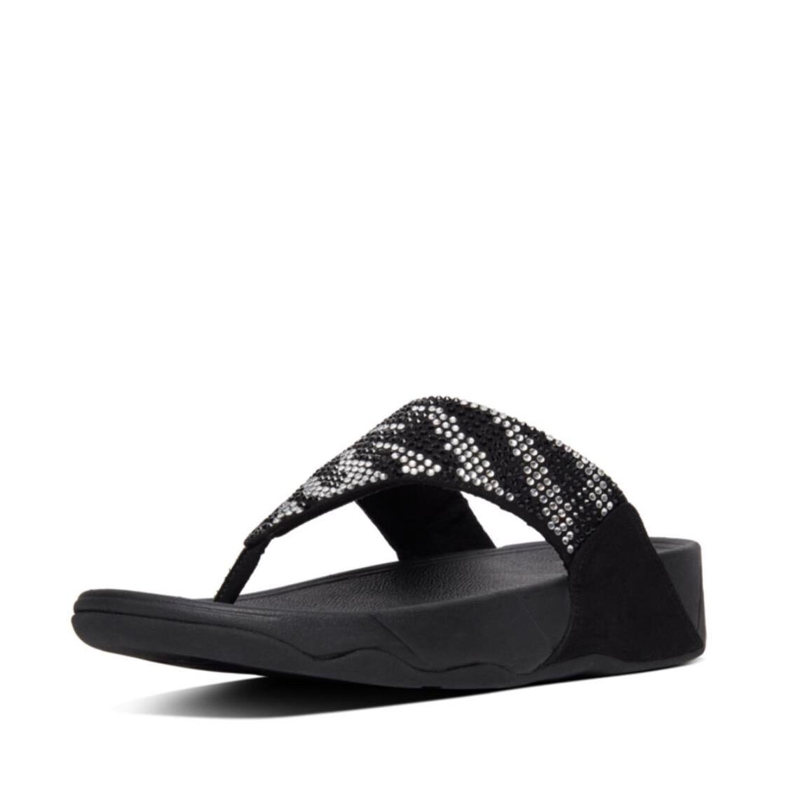 Fitflop Vanessa Zebra Print Toe Thongs Black AS3-001
