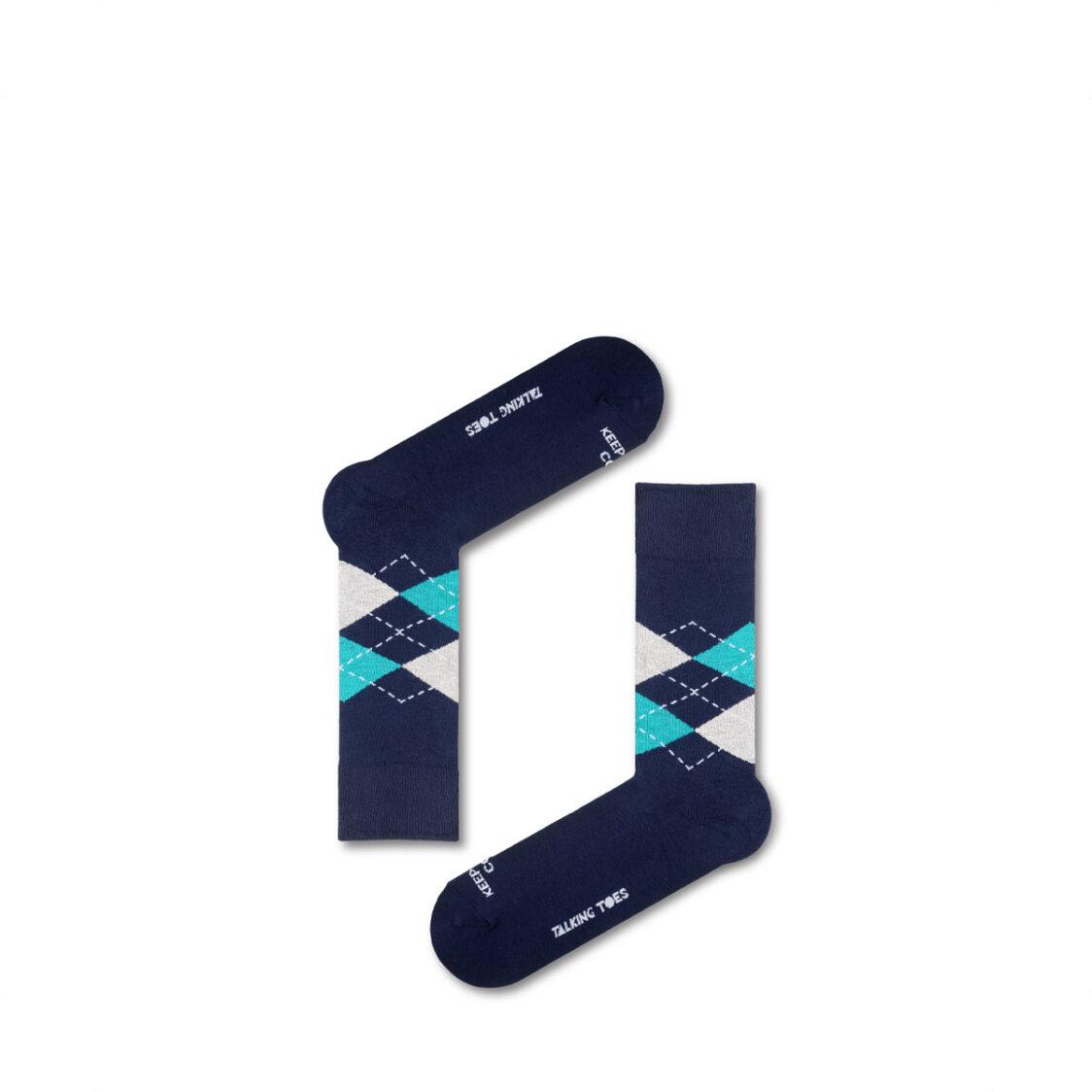 Everyday Basics by Talking Toes Navy-Aqua Argyle Socks One Size