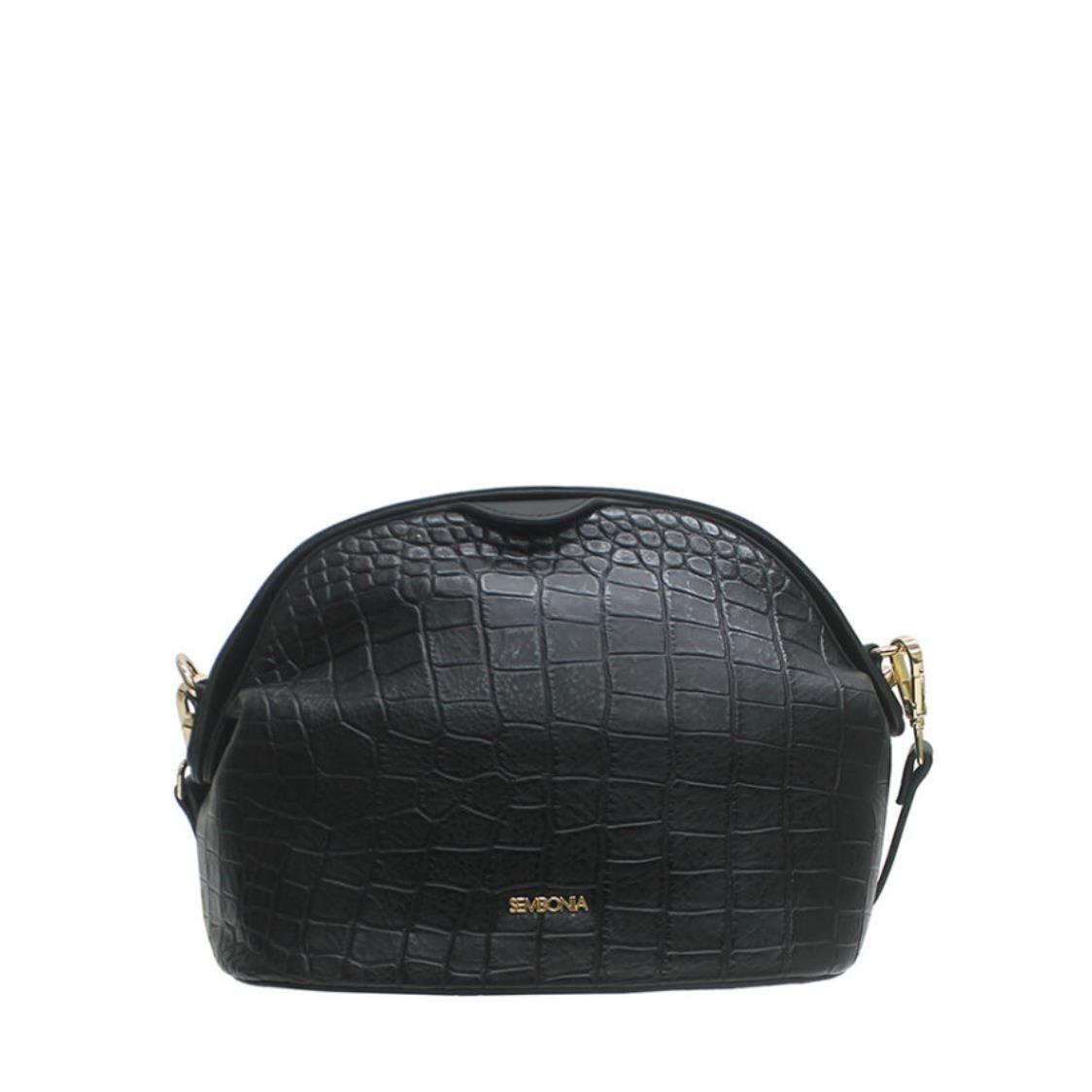 Sembonia Croc-Embossed Crossbody Bag Black 63252-001-08