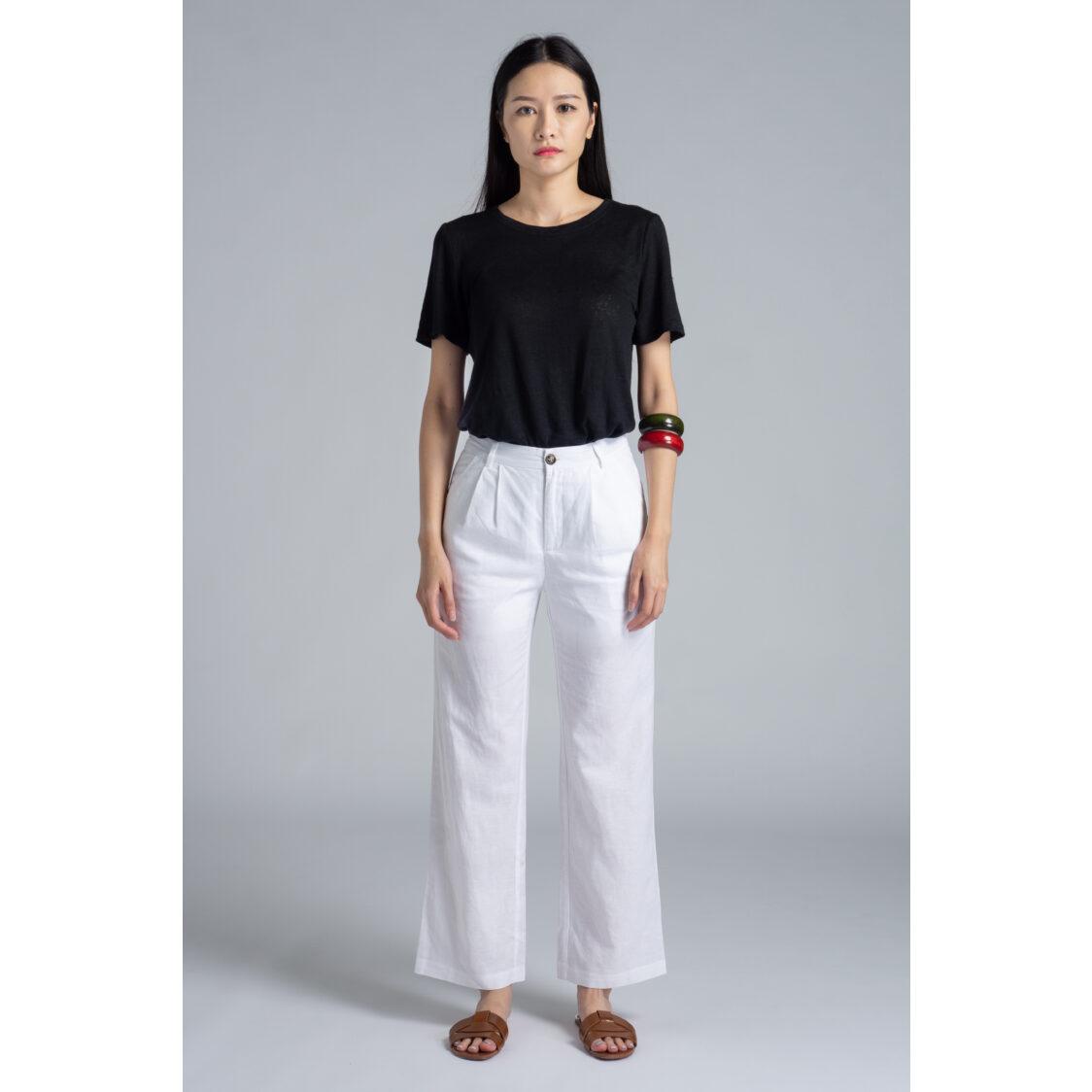 M Maison Linen Blend Pants - White