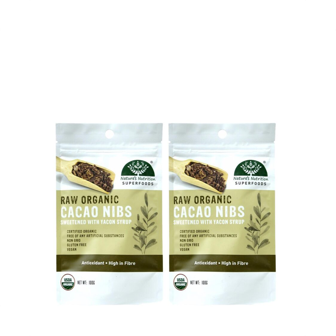 Natures Nutrition Organic Cacao Nibs with Yacon Syrup 100g Bundle of 2