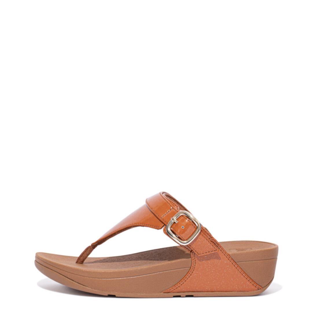 Fitflop Lulu Glitter Adjustable Toe-post Sandals Clay Brown EC9-886