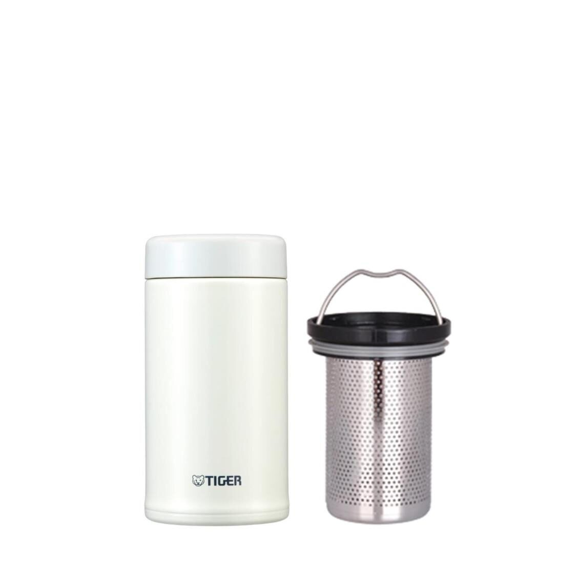 Tiger 360ml Stainless Steel Mug with Tea Strainer - White