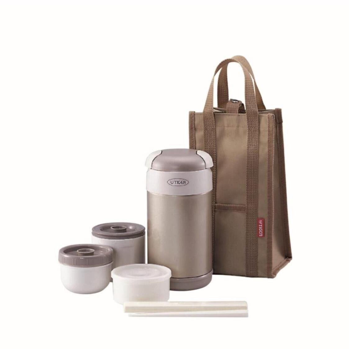 Tiger 920ml Double Stainless Steel Vacuumised Lunch Box With Bag