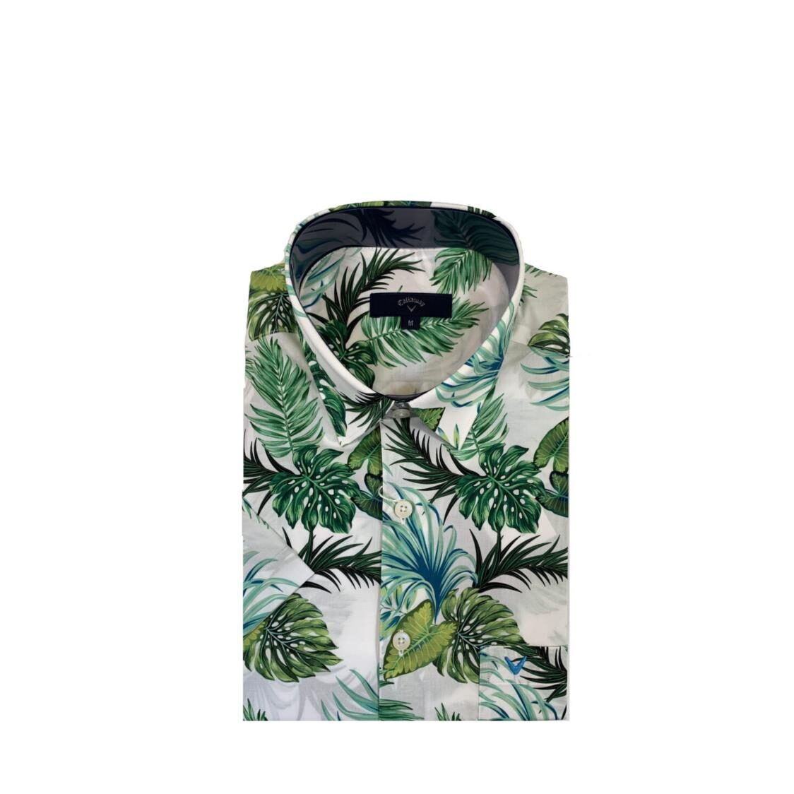 Callaway Short Sleeved Woven Shirt With Digital Prints COW6006 NGREEN