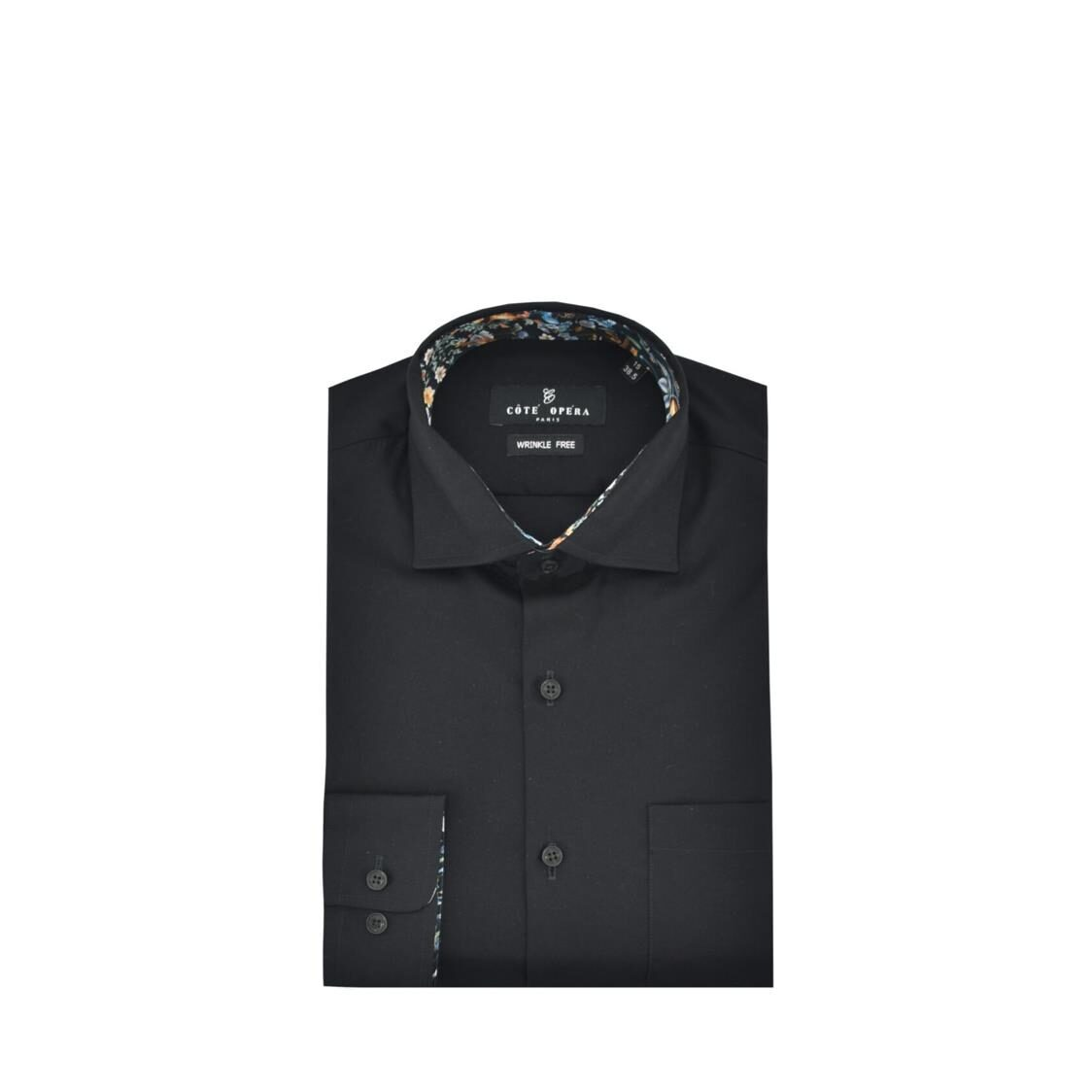 Cote Opera Long-Sleeved Shirt with Wrinkle-Free  Moist Cured finish - Black