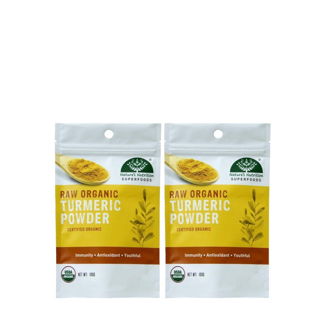 Natures Nutrition Organic Turmeric Powder 100g Bundle of 2