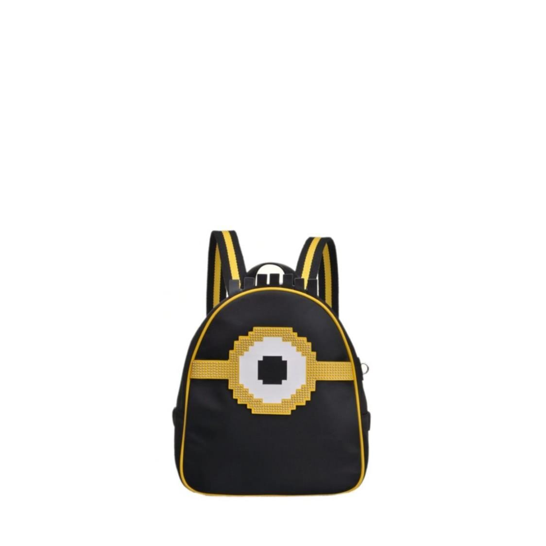 Fion Minions Jacquard with Leather Backpack - FAAFIMX005BLKYLWZZ