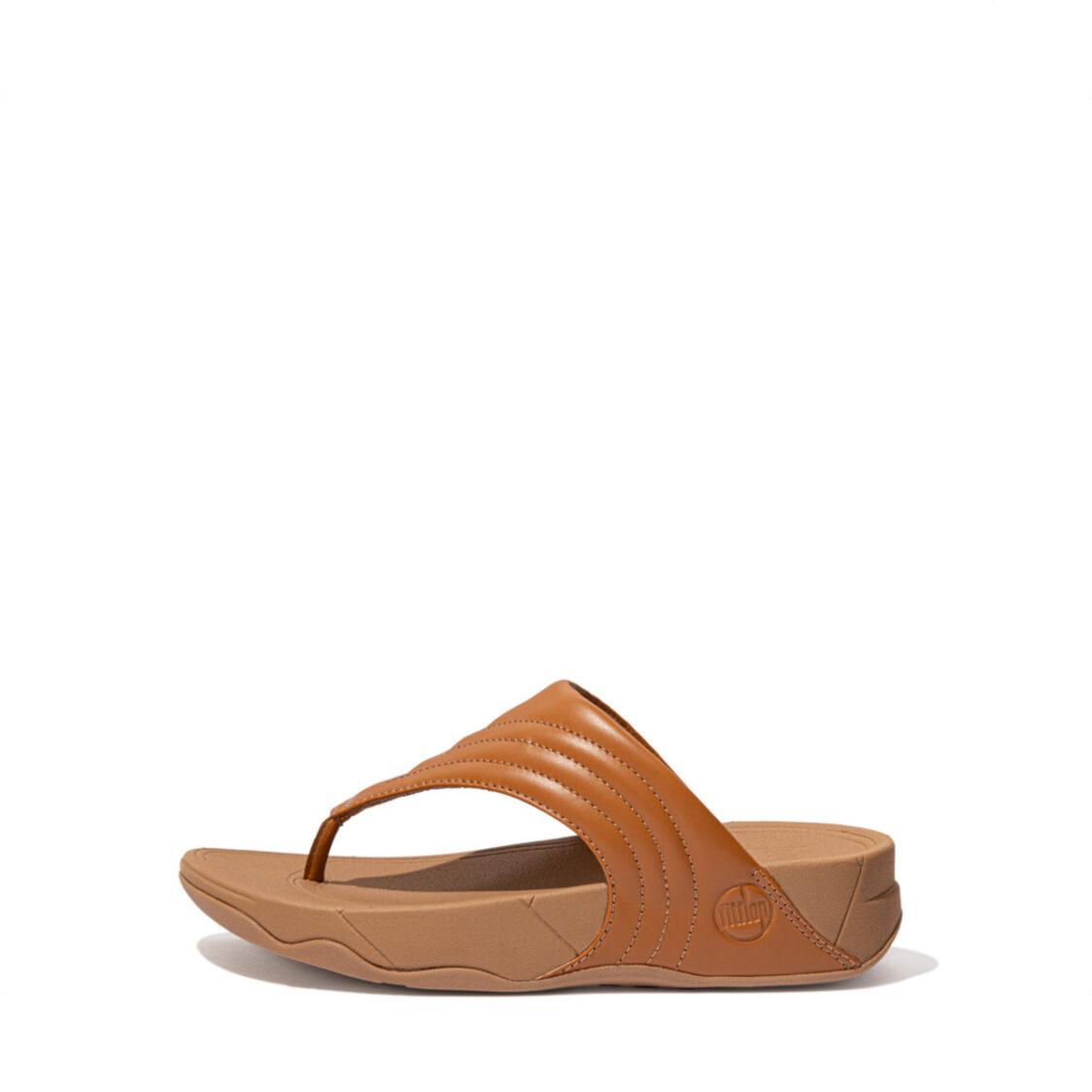 Fitflop Walkstar Leather Toe-Post Sandals Light Tan Dx5-592