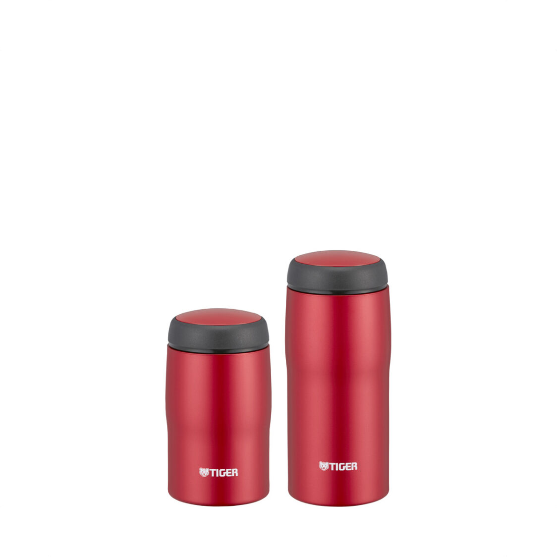 Tiger 240ml360ml Double Stainless Steel Mug Set Made In Japan Matte Red