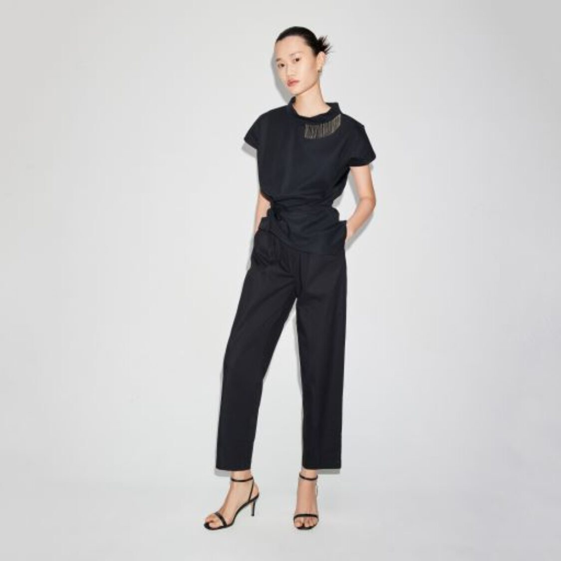 LILY Ruched Waist Top Black