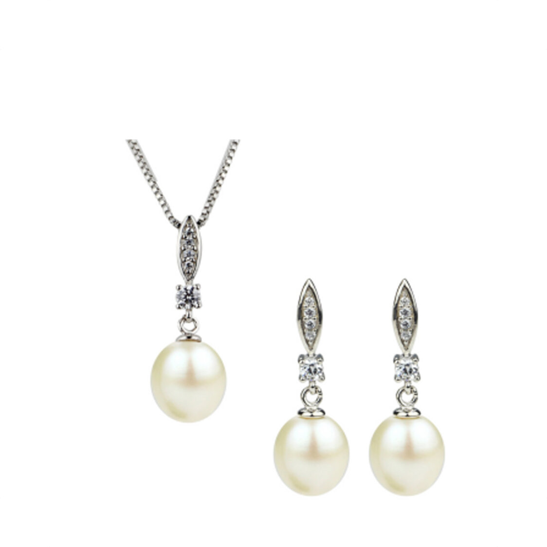 Fresh Water Pearl Pendant  Earrings Set in 925 Sterling Silver - EJset2