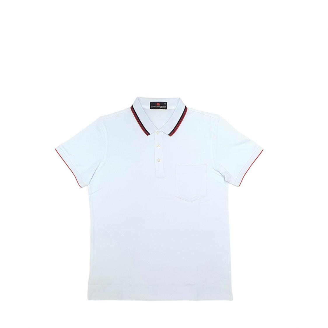 John Langford Pique Polo T-Shirt with Pocket White
