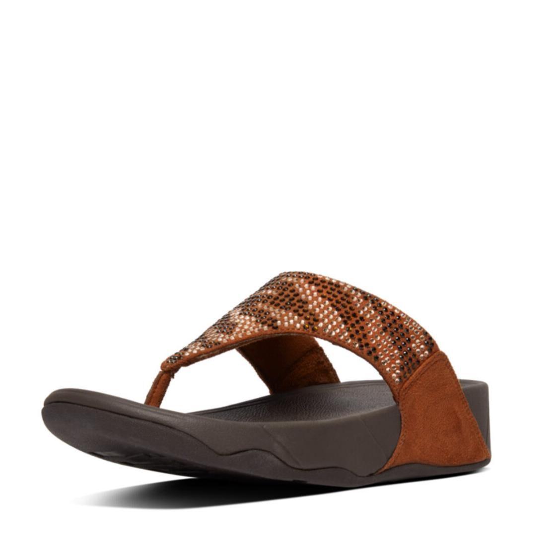 Fitflop Vanessa Zebra Print Toe Thongs Bronze AS3-012