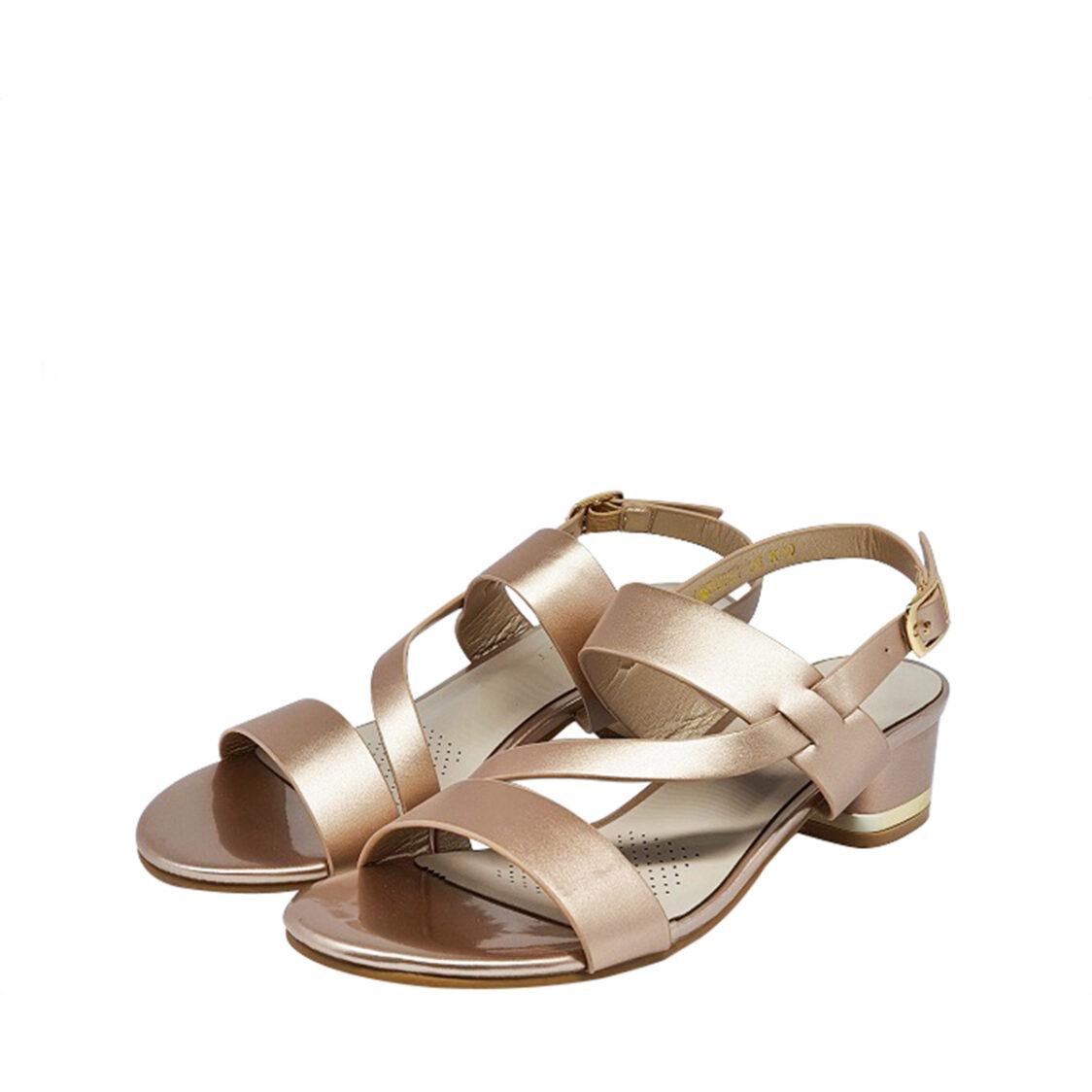 Everbest Comfort Low Heel Ladies Sandals in Light Gold