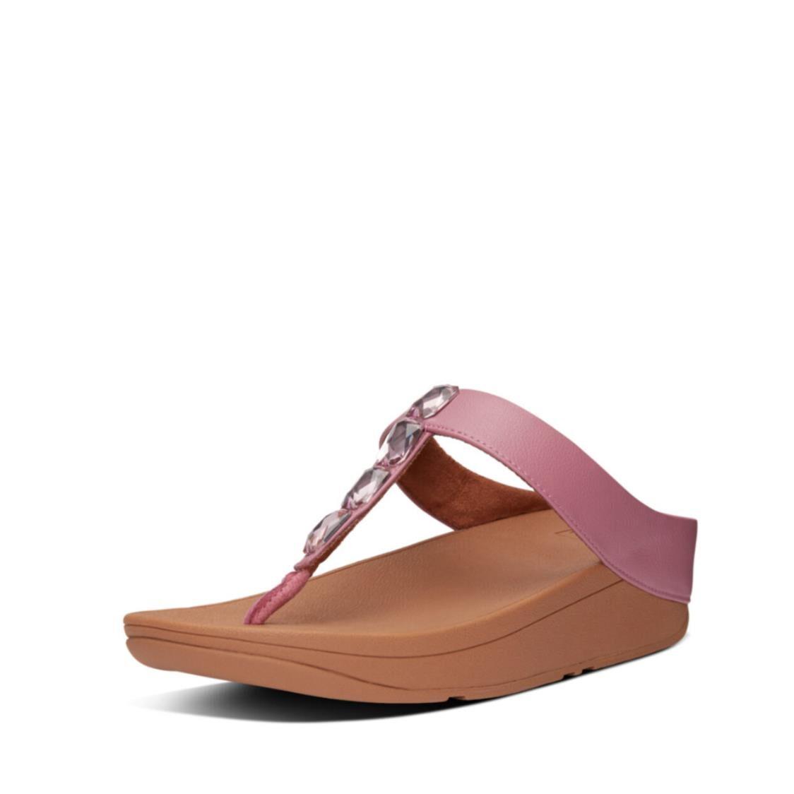 Fitflop Velda Jewel Toe Thongs Heather Pink