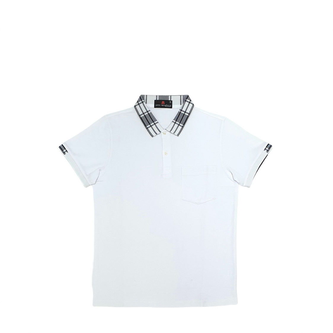 John Langford Honeycombed Polo T-Shirt with Pocket and Digital Printed Collar White