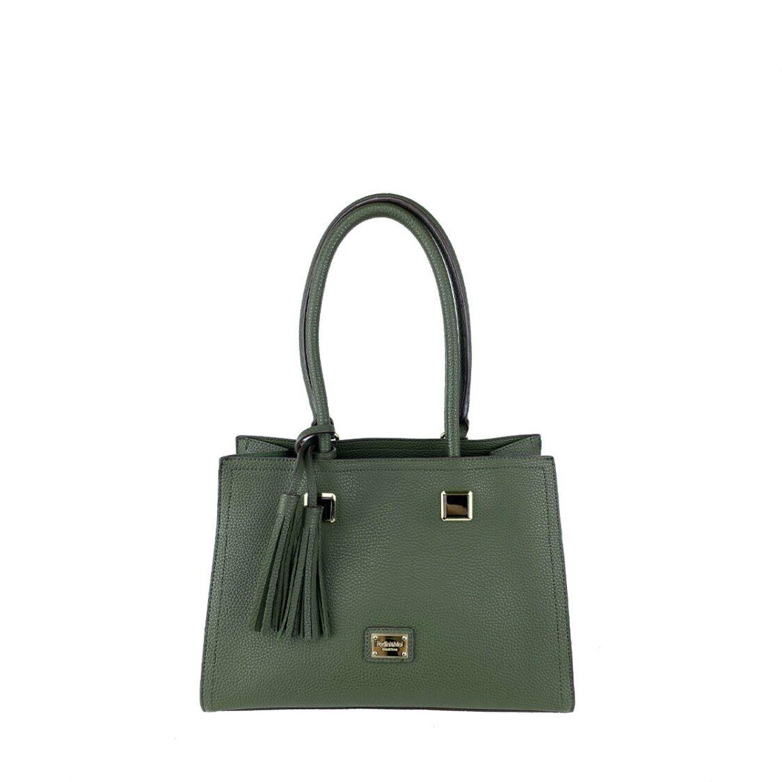 Perllini  Mel Tassel Accent Double Handle Bag Olive