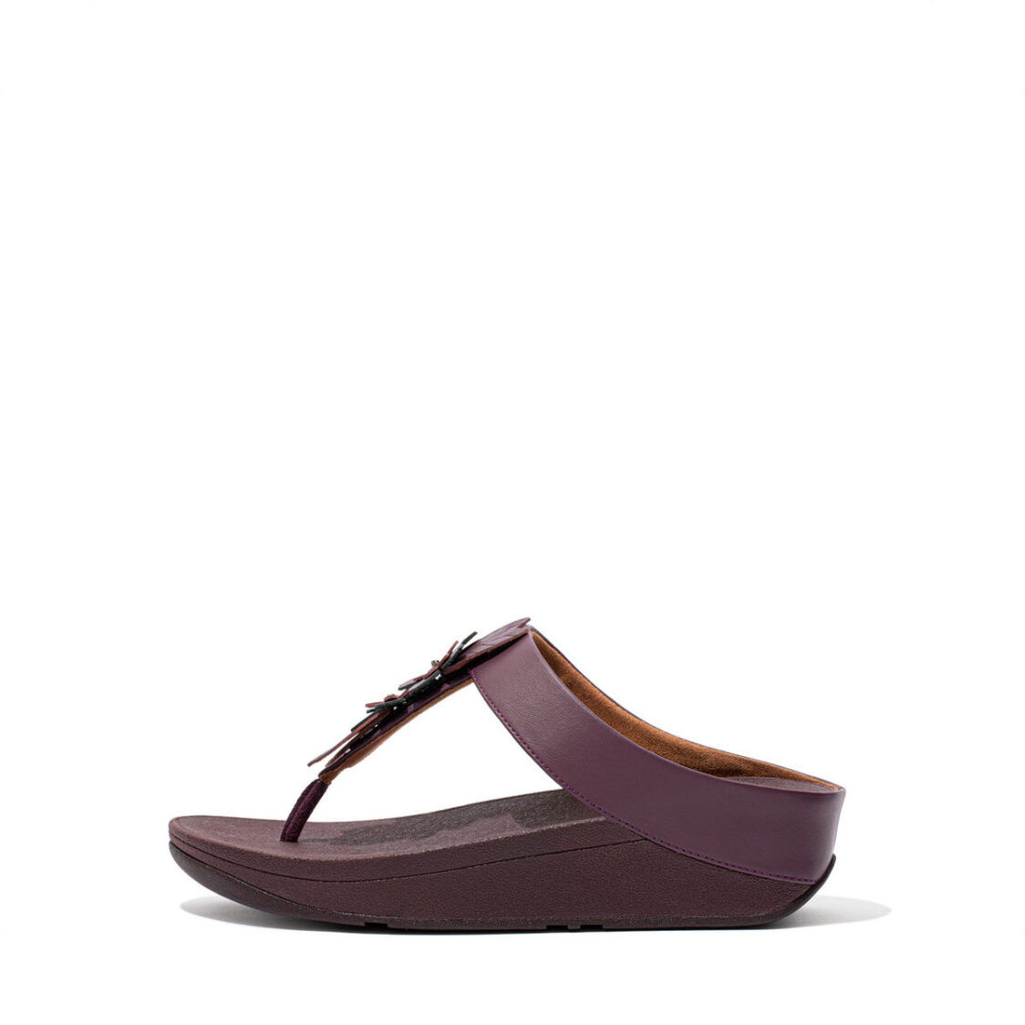 Fitflop Fino Floral Toe-Post Sandals Eggplant Purple Dz6-889