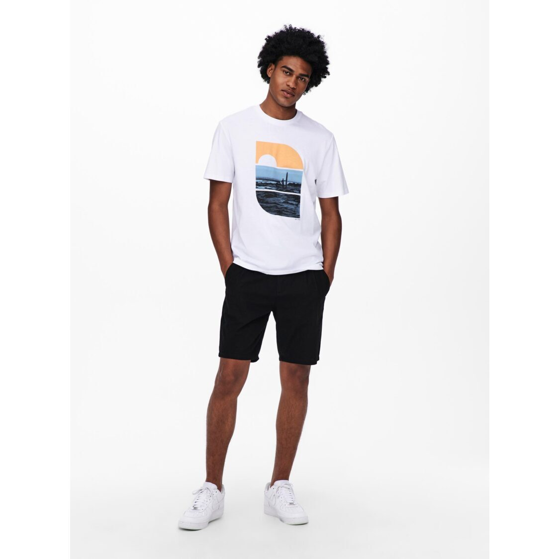 Only  Sons Onsleo Shorts Linen Mix GW 9201 Black