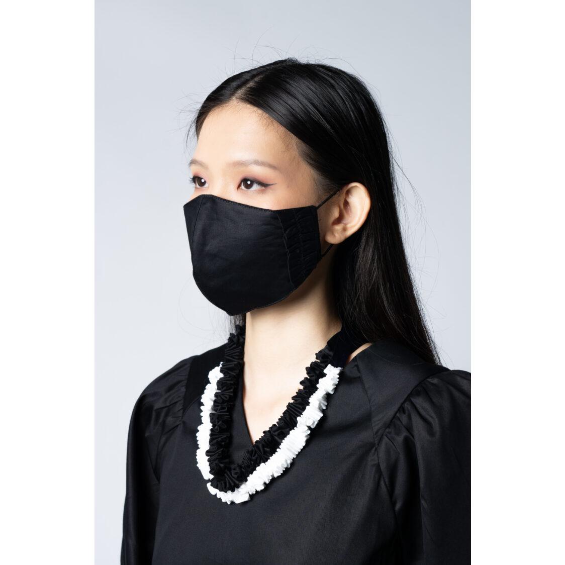 Kurt Woods Ruffles Face Mask Black Kw7487fm-r2 Free Size