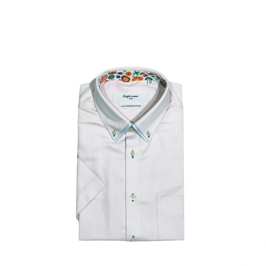 Coupe Cousu Double Collar Short Sleeve Shirt Light Pink