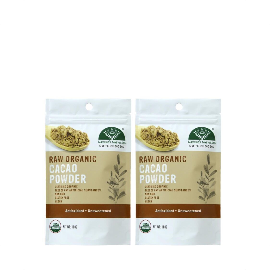 Natures Nutrition Organic Cacao Powder 100g Bundle of 2