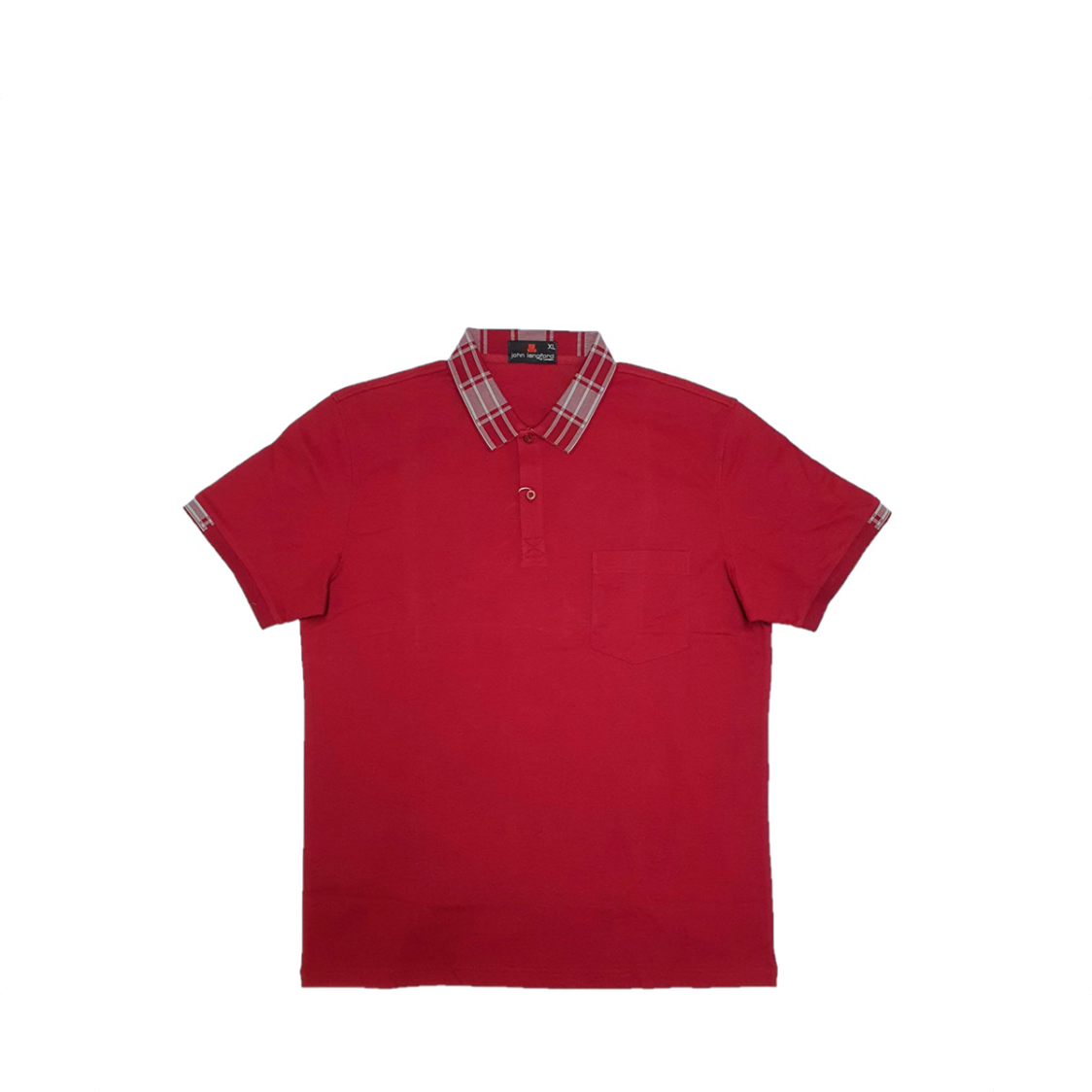 John Langford Honeycombed Polo T-Shirt with Pocket and Digital Printed Collar Maroon