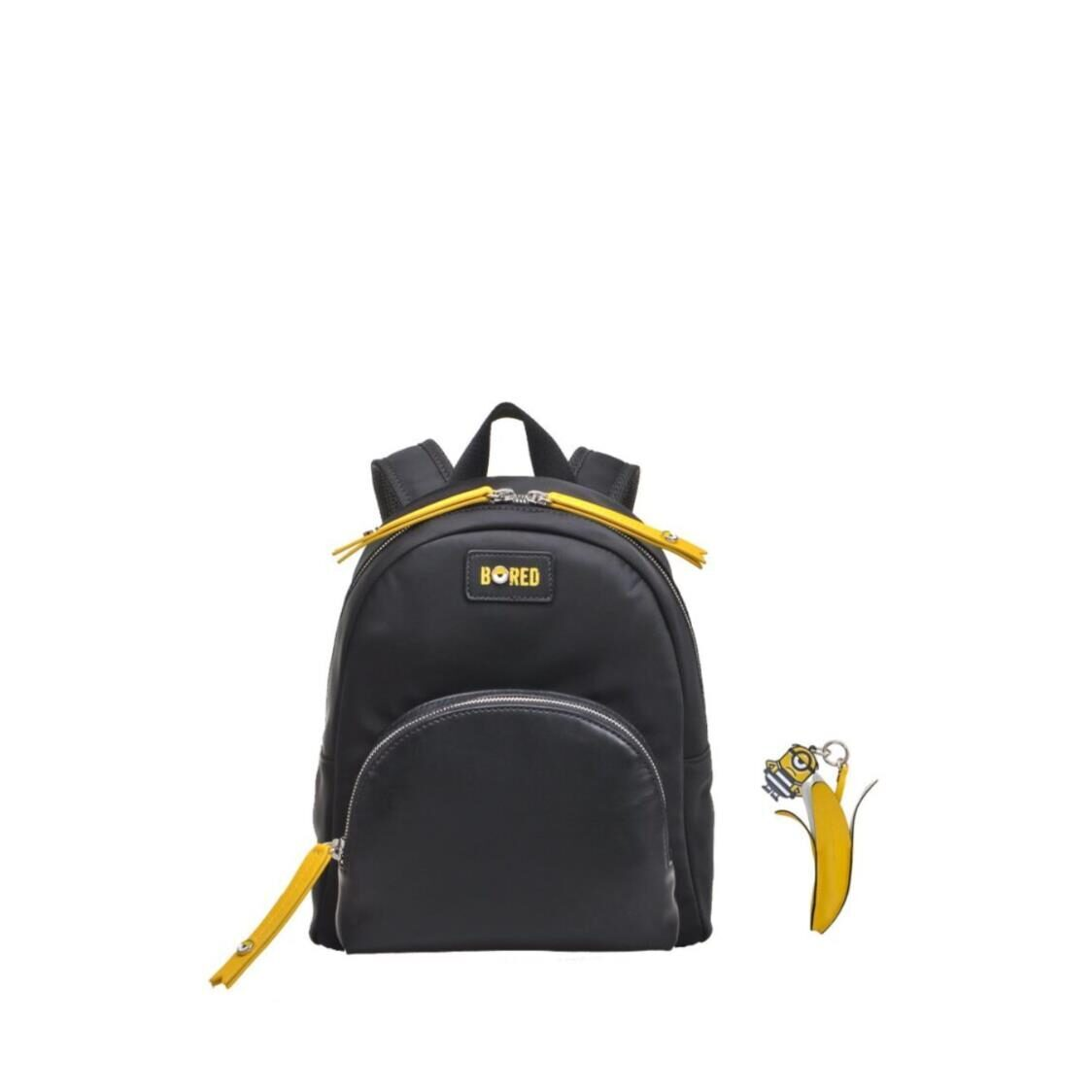 Fion Minions Jacquard with Leather Backpack - FAAFIPJ016BLKYLWZZ