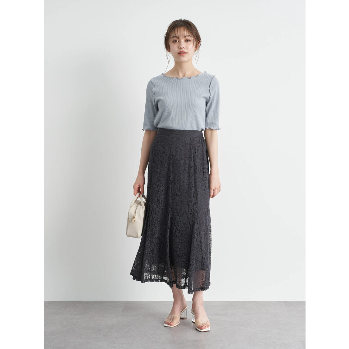 Earth Music  Ecology Floral Lace Skirt Charcoal Gray