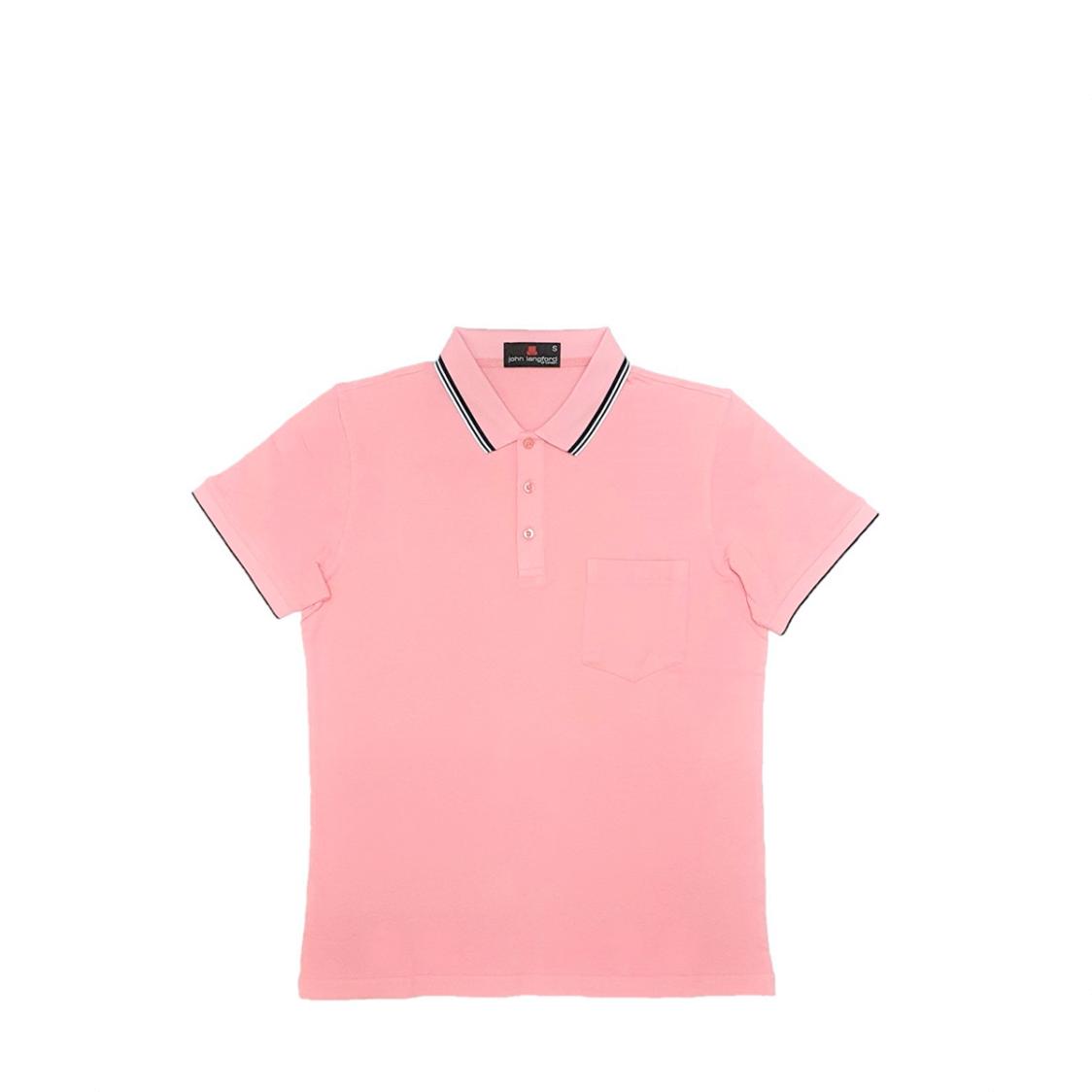 John Langford Pique Polo T-Shirt with Pocket Pink