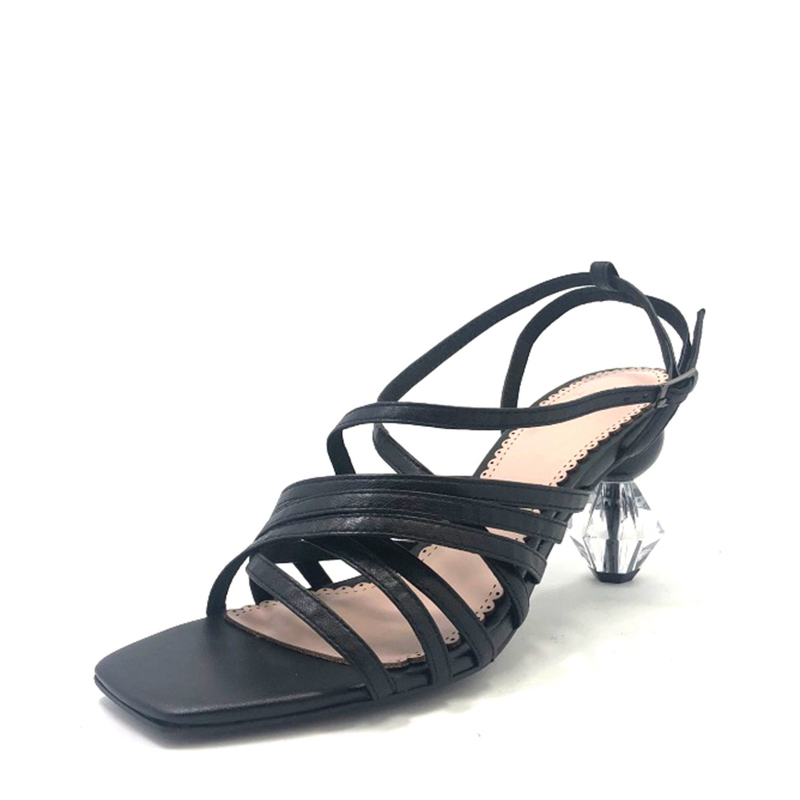 Martina Pink Strappy Sandals with Geometric Heel Black