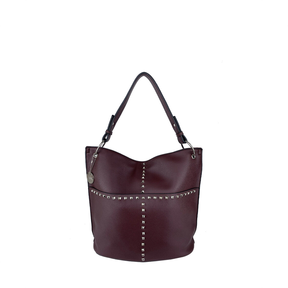 Perllini  Mel Studded Single Handle With Two Font Pockets Wine PN573-Wine