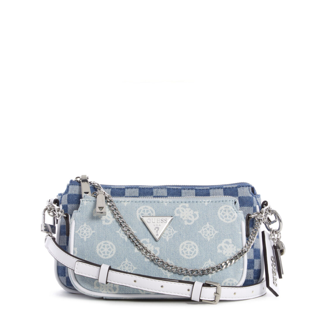 Guess Arie Double Pouch Crossbody Denim Peony