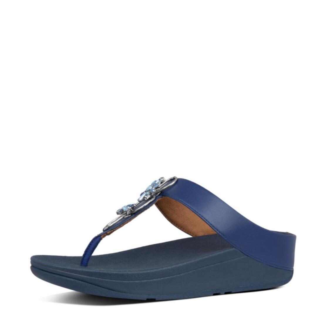 Fitflop Fino Blossom Toe Thongs Aurora Blue Y08-733