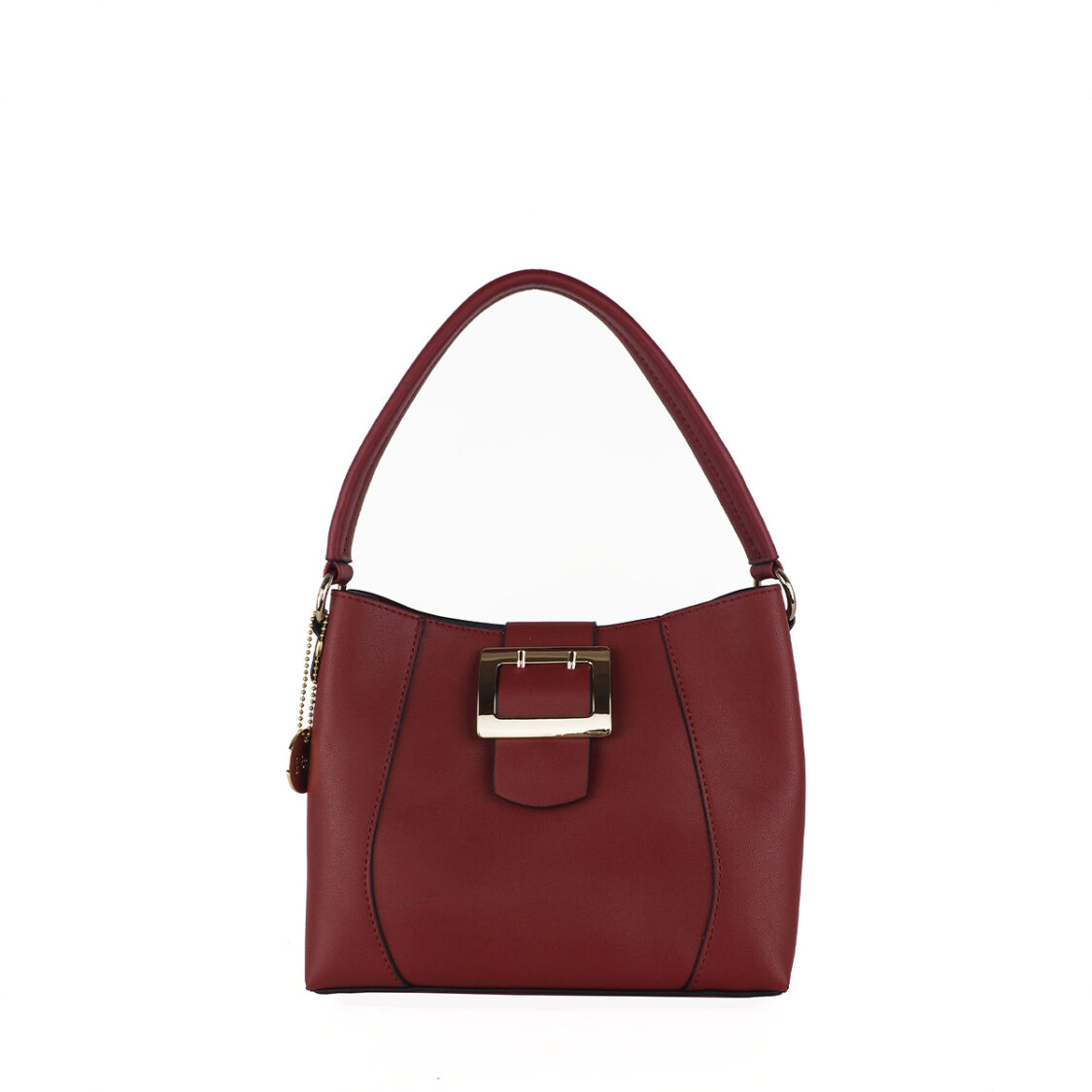 Perllini  Mel Buckle Accent Bag With Sling Strap Dark Red