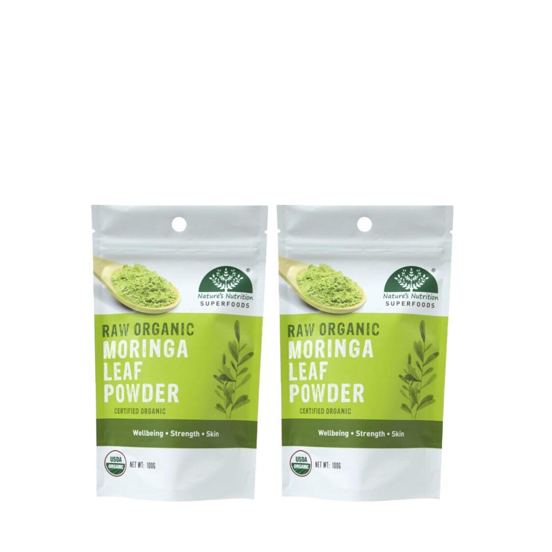 Natures Nutrition Organic Moringa Leaf Powder 100g Bundle of 2