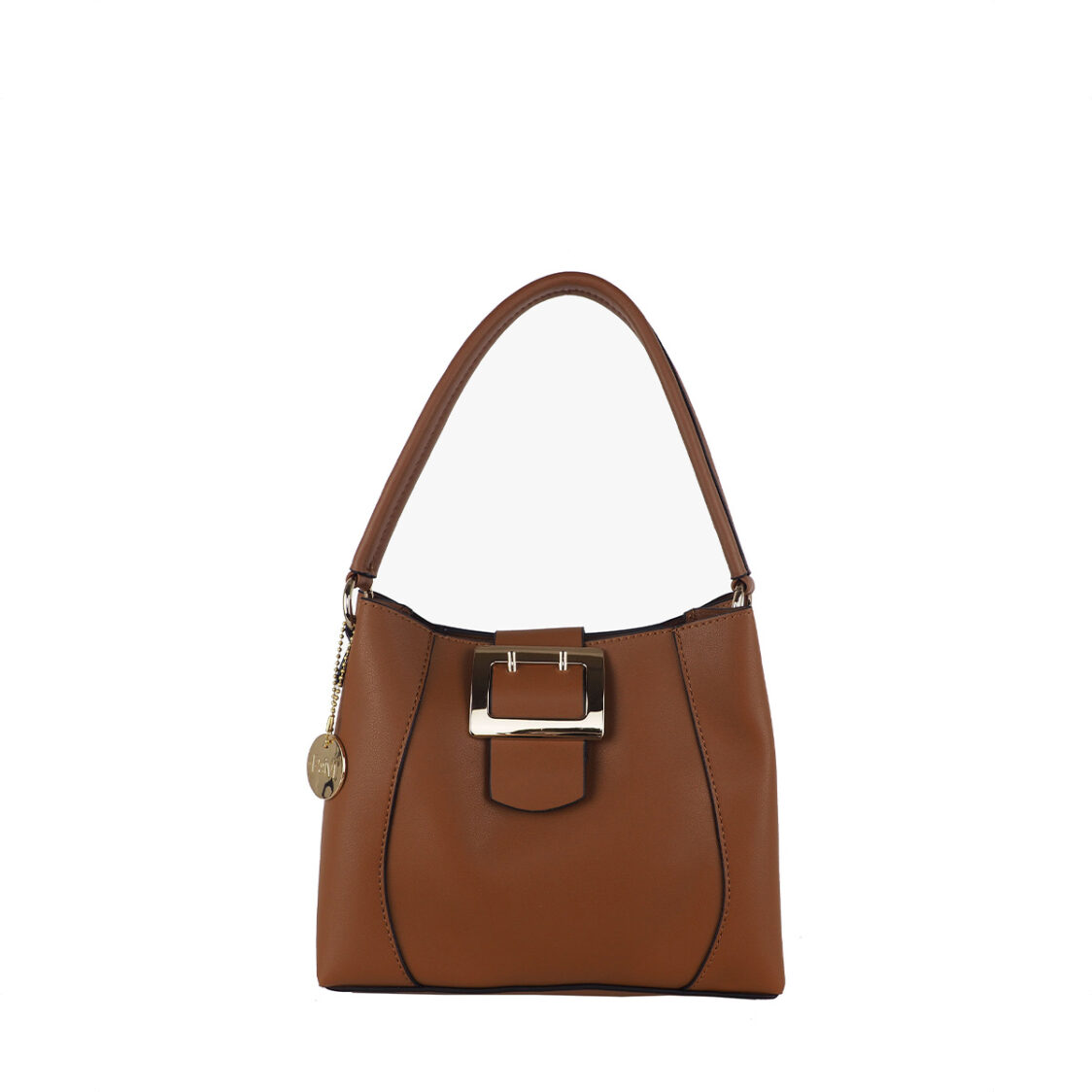 Perllini  Mel Buckle Accent Bag With Sling Strap Tan