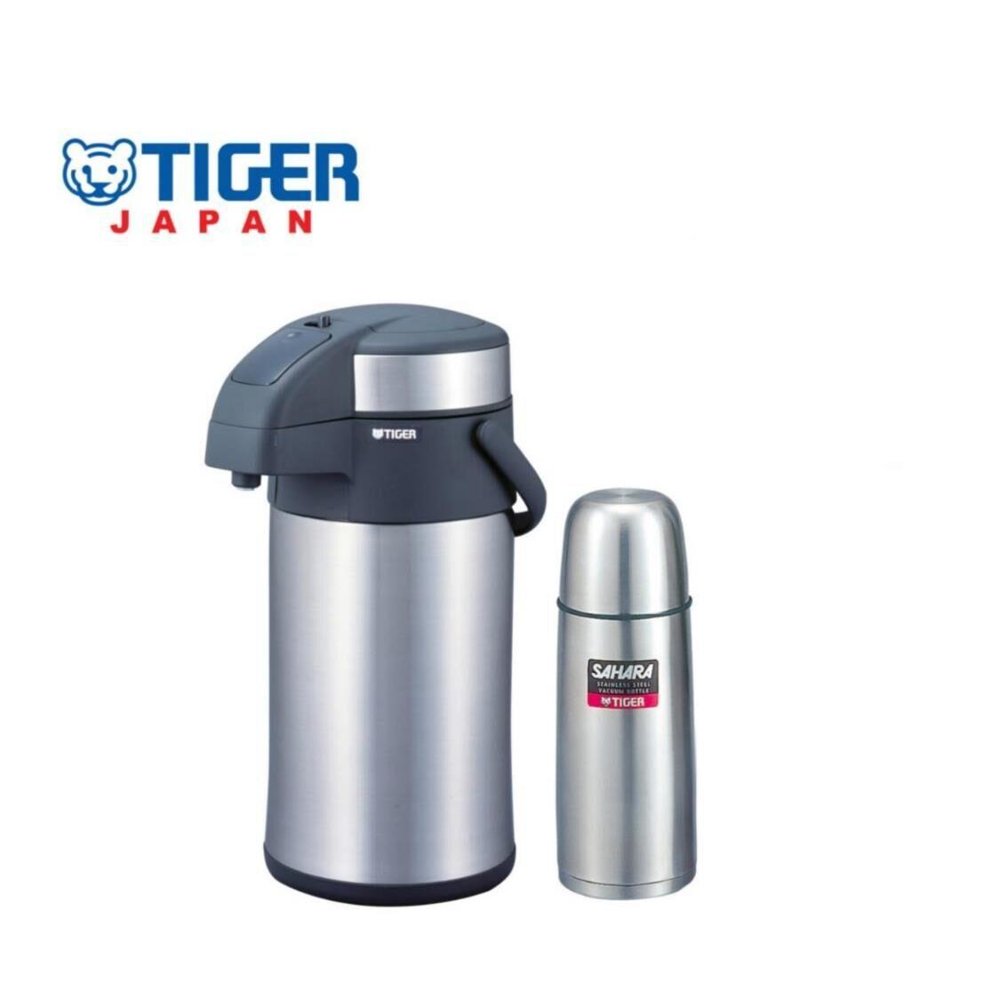 Tiger 4L Double SSteel Air Pump Jug  500ml Double SSteel Bottle Set MAA-A402MSC-B050