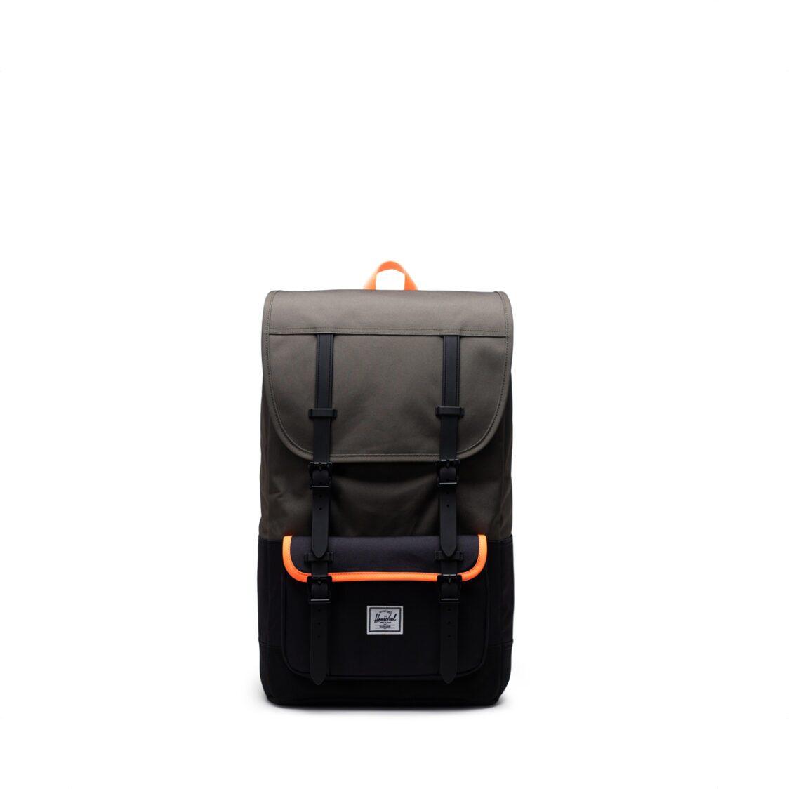 Herschel Little America Pro Ivy GreenBlackShocking Orange Backpack 11038-04940-OS