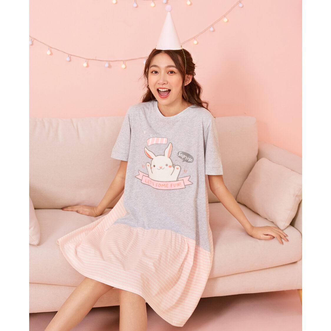 Young Hearts Party Bunny Sleep Dresses Grey Y18-200934