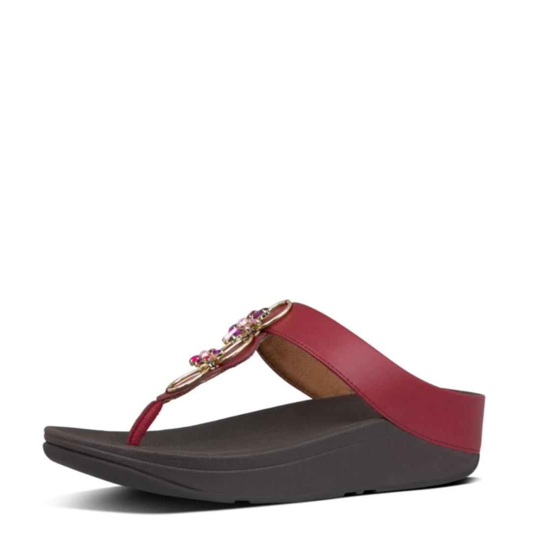 Fitflop Fino Blossom Toe Thongs Dark Red Y08-738